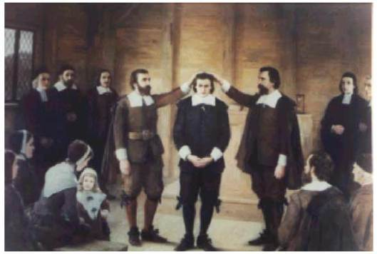 Ordination of Rev Thomas Carter. Painting by Albert Thompson